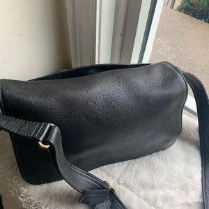 Coach black//brown cross body leather bag 12 X9